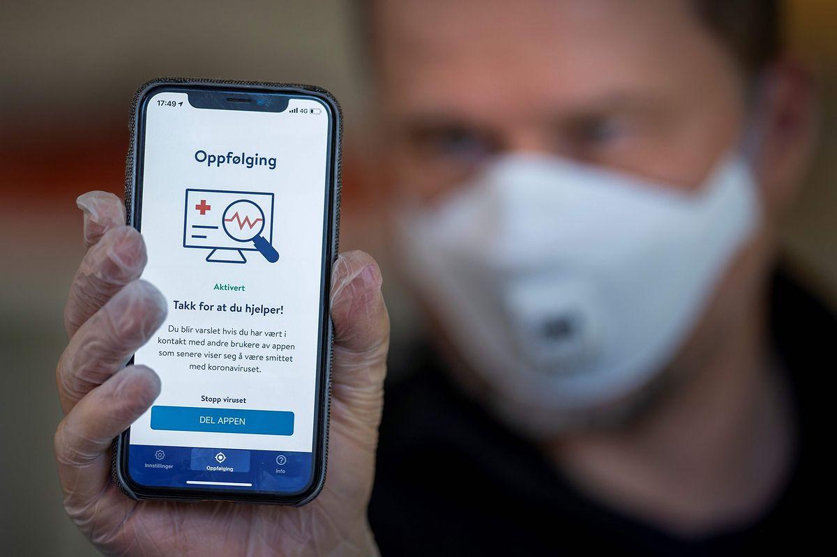Uma aplicação usada na Noruega para controlar onde andam os doentes.