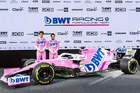 ARCHIV - 17.02.2020, Österreich, Mondsee: Motorsport: Racing Point stellt seinen neuen Formel-1-Wagen vor. Lance Stroll (l), Automobilrennfahrer aus Kanada und Sergio Perez, Automobilrennfahrer aus Mexiko bei der Präsentation. (zu dpa: «Formel 1: Racing Point wird zu neuem Werksteam von Aston Martin») Foto: Expa/Johann Groder/APA/dpa +++ dpa-Bildfunk +++