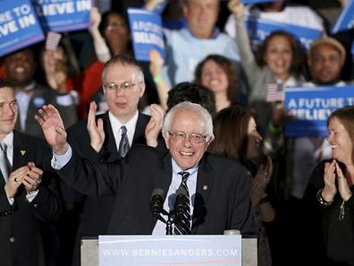 U.S. Democratic presidential candidate Bernie Sanders wins at his 2016 New Hampshire presidential primary night rally in Concord, New Hampshire February 9, 2016.