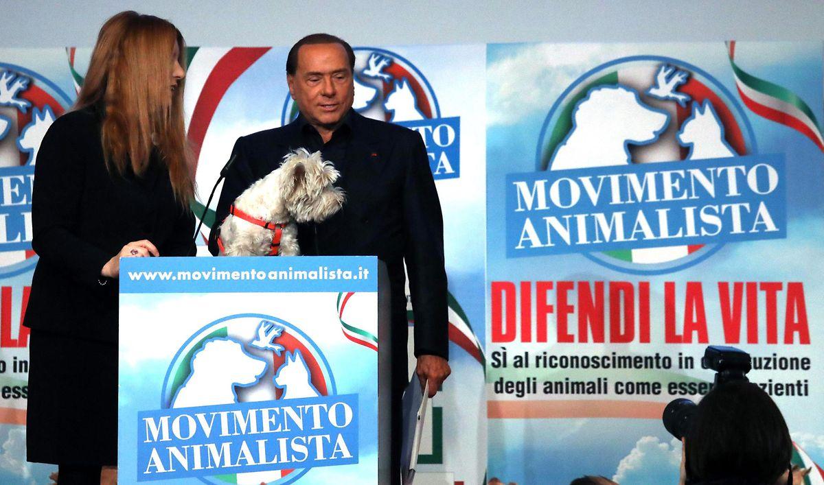 Silvio Berlusconi and Michela Vittoria Brambilla at Italy's Animal Movement in Milan (AFP)