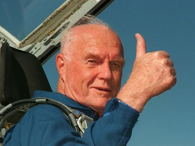 Ohio Senator John Glenn gives the thumbs up sign from the cockpit of his T-38 jet aircraft as he arrives at the Kennedy Space Center in Cape Canaveral, Florida, U.S. on October 26, 1998. Glenn, 77, blasted off aboard the shuttle Discovery on October 29, 1998, becoming the oldest person ever to go into space.  Courtesy George Shelton/NASA/Handout via REUTERS  ATTENTION EDITORS - THIS IMAGE WAS PROVIDED BY A THIRD PARTY. EDITORIAL USE ONLY