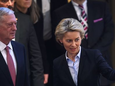 German Defence Minister Ursula von der Leyen (R) and US Secretary of Defense James Mattis arrive to deliver opening statements on the first day of the 53rd Munich Security Conference (MSC) at the Bayerischer Hof hotel in Munich, Germany, on February 17, 2017.