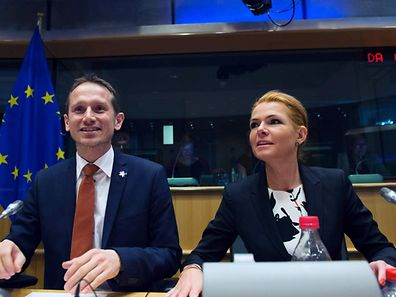 Denmarks' Foreign Minister Kristian Jensen (L) and Denmark's Minister of Immigration and Integration Inger Stojberg take part in a meeting at the European Parliament in Brussels on January 25, 2016