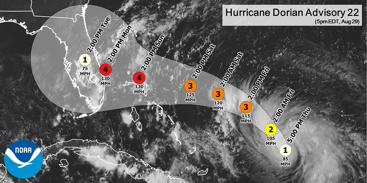 Die vorhergesagte Route des Sturms.