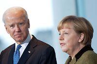 ARCHIV - 01.02.2013, Berlin: Bundeskanzlerin Angela Merkel (CDU) empfängt im Kanzleramt den damaligen US-Vizepräsidenten Joe Biden. Einen Monat nach seiner Vereidigung nimmt US-Präsident Joe Biden am Freitag erstmals an einem internationalen Gipfeltreffen teil. Foto: picture alliance / dpa +++ dpa-Bildfunk +++