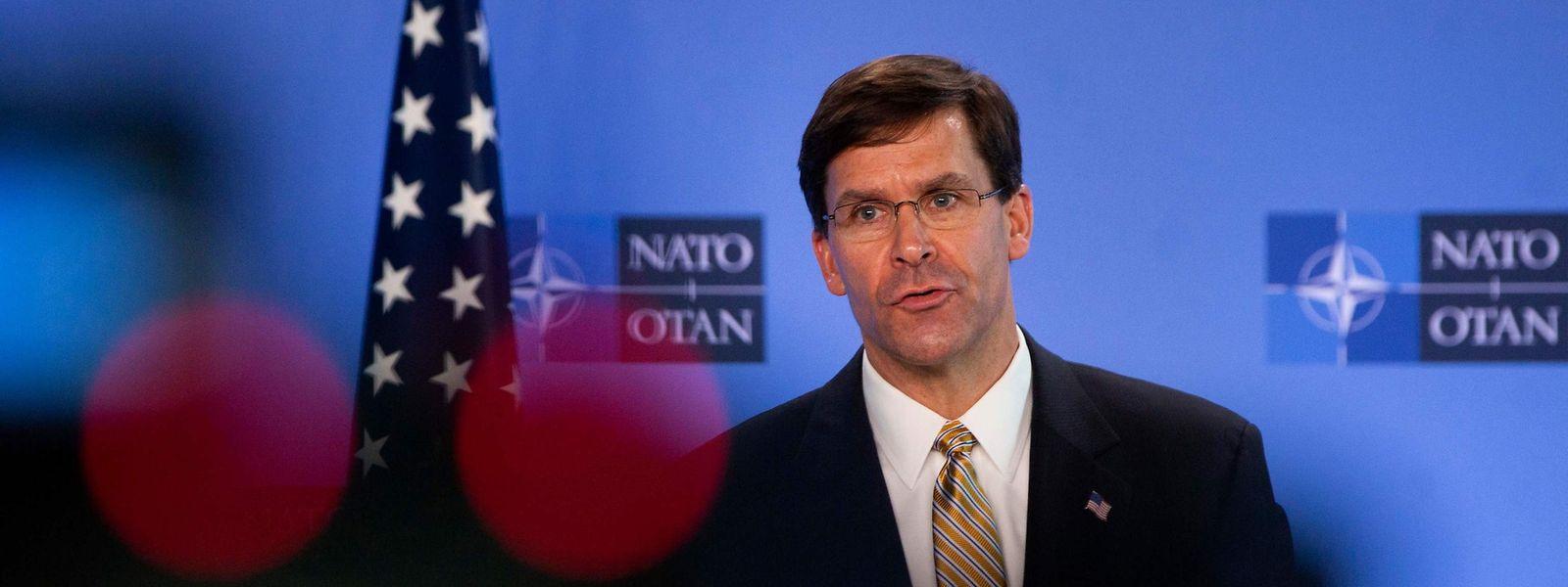 US-Verteidigungsminister Mark Esper bei einer NATO-Pressekonferenz.
