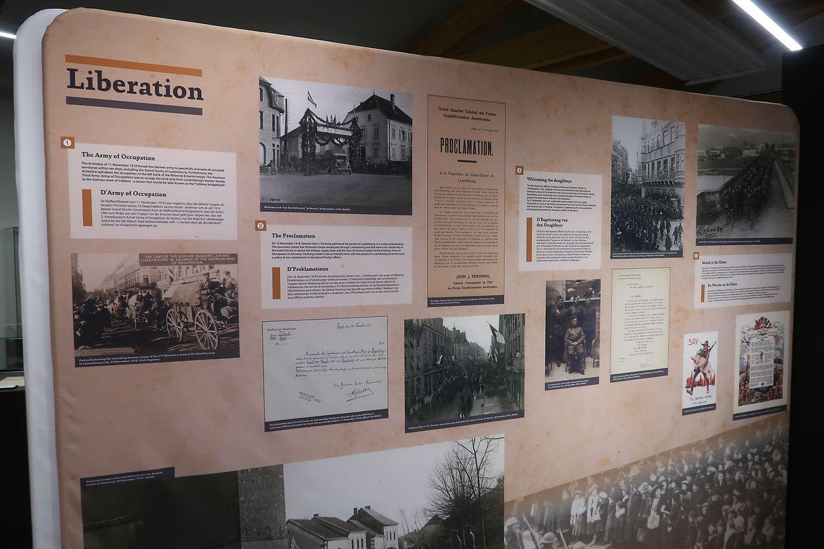 Derzeit ist im neuen Museumstrakt die zeitlich begrenzte Ausstellung Doughboys zu Lëtzebuerg zu sehen.