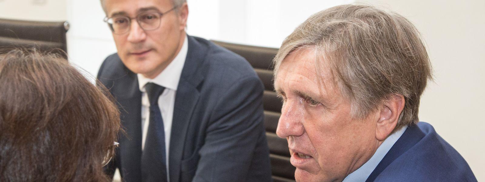 Justizminister Felix Braz und Polizeiminister François Bausch (beide Déi Gréng) standen den Abgeordneten während dreieinhalb Stunden zur Zentraldatei der Polizei, bzw. der Staatsanwaltschaft, Rede und Antwort.