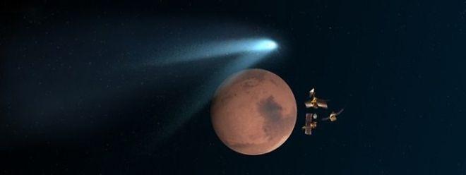 """Die Mars Orbiter der NASA reihen sich zum """"Duck and Cover""""-Manöver hinter dem Planeten Mars auf, um sich vor dem Kometenstaub zu schützen."""