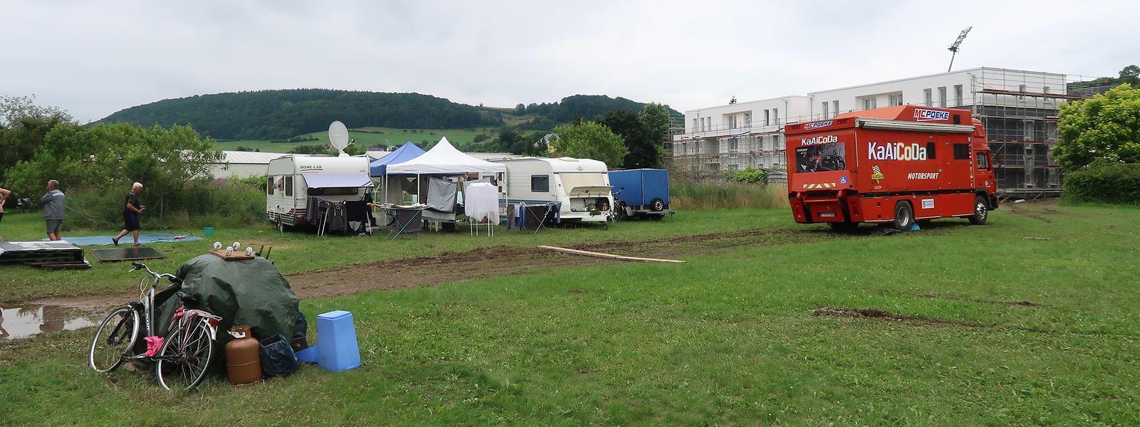 Nahe dem Camping de la Sûre haben sich mehrere Dauerbewohner des Ferienareals niedergelassen. Sie warten ab, bis sich das Hochwasser wieder zurückgezogen hat und kehren dann wieder auf ihre üblichen Stellplätze zurück.