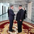 TOPSHOT - This picture taken on May 26, 2018 and released by the Blue House via Dong-A Ilbo shows South Korea's President Moon Jae-in (L) shaking hands with North Korea's leader Kim Jong Un before their second summit at the north side of the truce village of Panmunjom in the Demilitarized Zone (DMZ). South Korea said President Moon Jae-in met with North Korea's leader Kim Jong Un on May 26 inside the Demilitarised Zone dividing the two nations, a day after US President Donald Trump threatened to abandon a summit with Pyongyang. / AFP PHOTO / Dong-A Ilbo / Handout / South Korea OUT