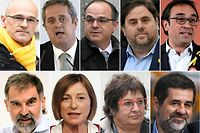 (FILES) This combination of file pictures created on October 26, 2018 shows jailed Catalan separatist leaders (TOP L-R) Raul Romeva, Joaquim Forn, Jordi Turull, Oriol Junqueras, Josep Rull (BOTTOM L-R) Jordi Cuixart, Carme Forcadell, Dolors Bassa and Jordi Sanchez. - The trial of 12 Catalan separatist leaders involved in a bid to secede from Spain that plunged the country into crisis starts on February 12, 2019 under intense scrutiny and controversy. Expected to last three months, the trial is due to be broadcast live on television from the Supreme Court in Madrid where 600 journalists from 150 domestic and foreign media are accredited. (Photos by AFP)