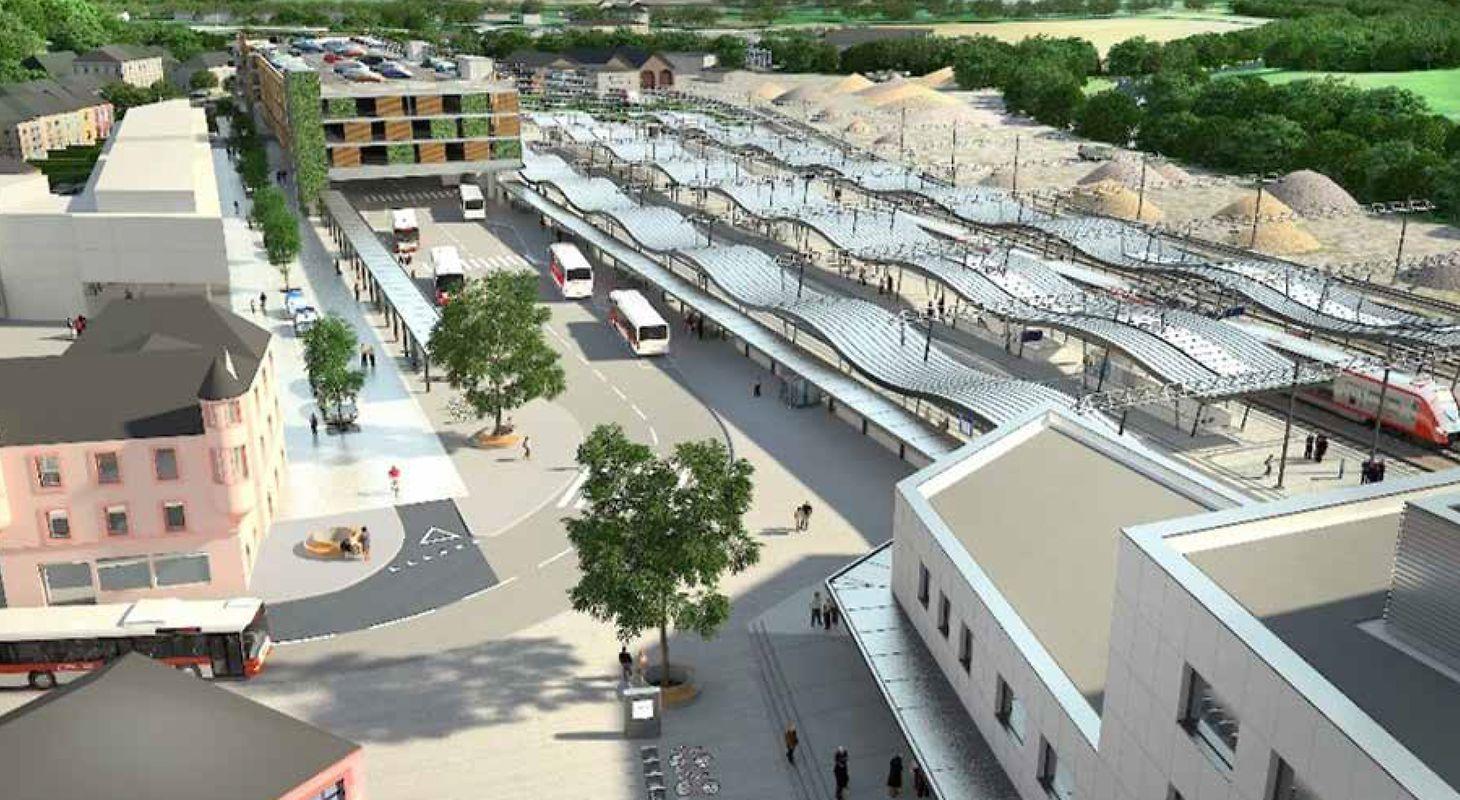 Le pôle d'échange multimodal d'Ettelbruck, 98 millions d'euros, entrera en service en 2022-2023. Il comprend deux voies supplémentaires, un park and ride, un nouveau bâtiment pour les voyageurs et pour le commissariat de police, une gare routière et un parking souterrain.