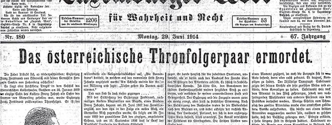 Die Titelseite des Worts vom 29. Juni 1914