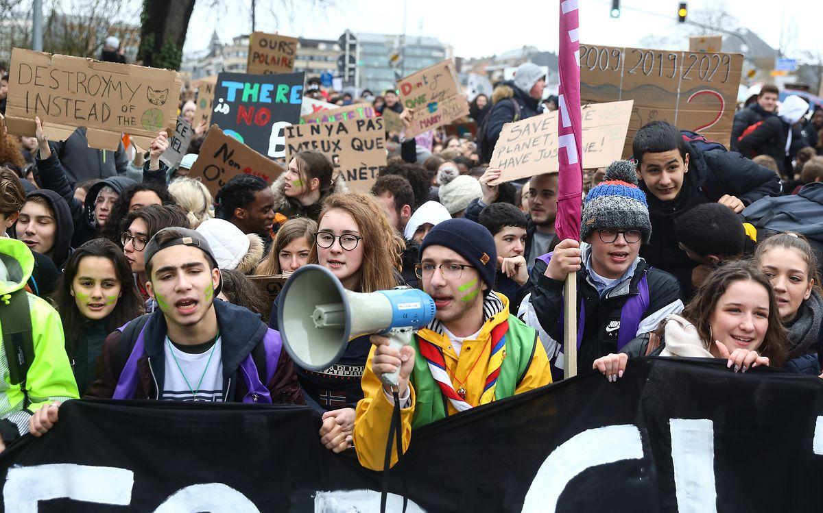 Schülerstreik in Luxemburg-Stadt.