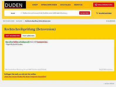Die Rechtschreibprüfung auf Duden.de findet und korrigiert Fehler in eingefügten Texten.