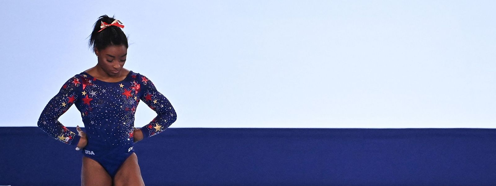 Simone Biles bei einem Olympia-Wettkampf am Sonntag.