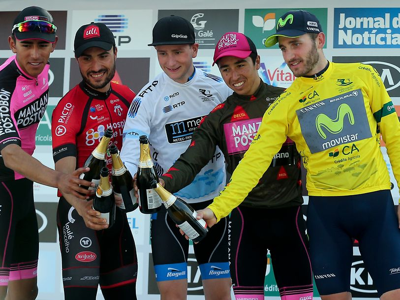 Stage winner Juan Molano Benavides (L), best Portuguese in the stage, Luís Mendonça (2L), youth jersey, Jasper de Laat (C), climber jersey, Aldemar Ortega and yellow jersey Carlos Barbera (R) celebrate on the podium in the third stage of the 35th Alentejo Tour cycling race, over 208 km from Mourão to Mértola, Portugal, 24th February 2017.  NUNO VEIGA/LUSA