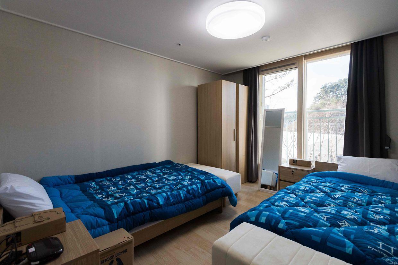 In diesen Betten werden es sich die Athleten gemütlich machen.