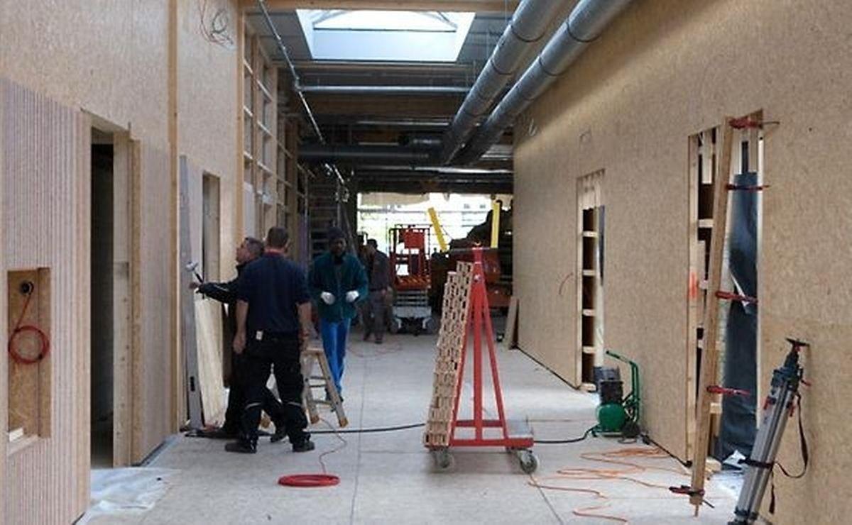Les travaux d'aménagement des 4 Centres  de primo-accueil comme dans le Hall 6 de Luxexpo au Kirchberg progressent rapidement.