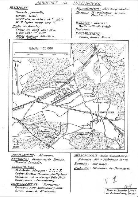 Das Flugfeld Findel liegt während des Krieges an der Route de Trèves, wie auf dieser Karte von 1948 noch erkennbar ist. Die Rue de la Chapelle am westlichen Ende ist heute unterbrochen durch die Verlängerung der Piste.