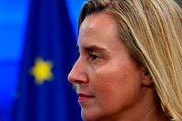 European Union for Foreign Affairs and Security Policy Federica Mogherini looks on before a bilateral meeting with Prime Minister of Sudan at the EU headquarters in Brussels on November 11, 2019. (Photo by JOHN THYS / AFP)