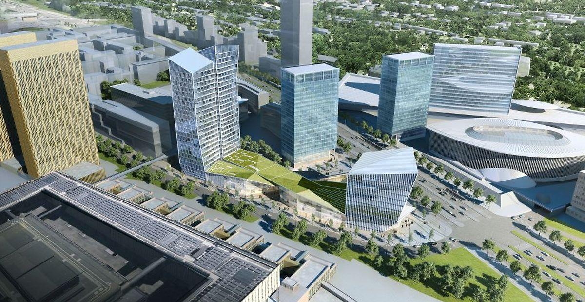 Au centre, la tour B des Portes de l'Europe. A gauche, la tour de 21 étages. En bas, le centre commercial avec son toit végétalisé et à droite, la tour plus petite où seront installés des bureaux.