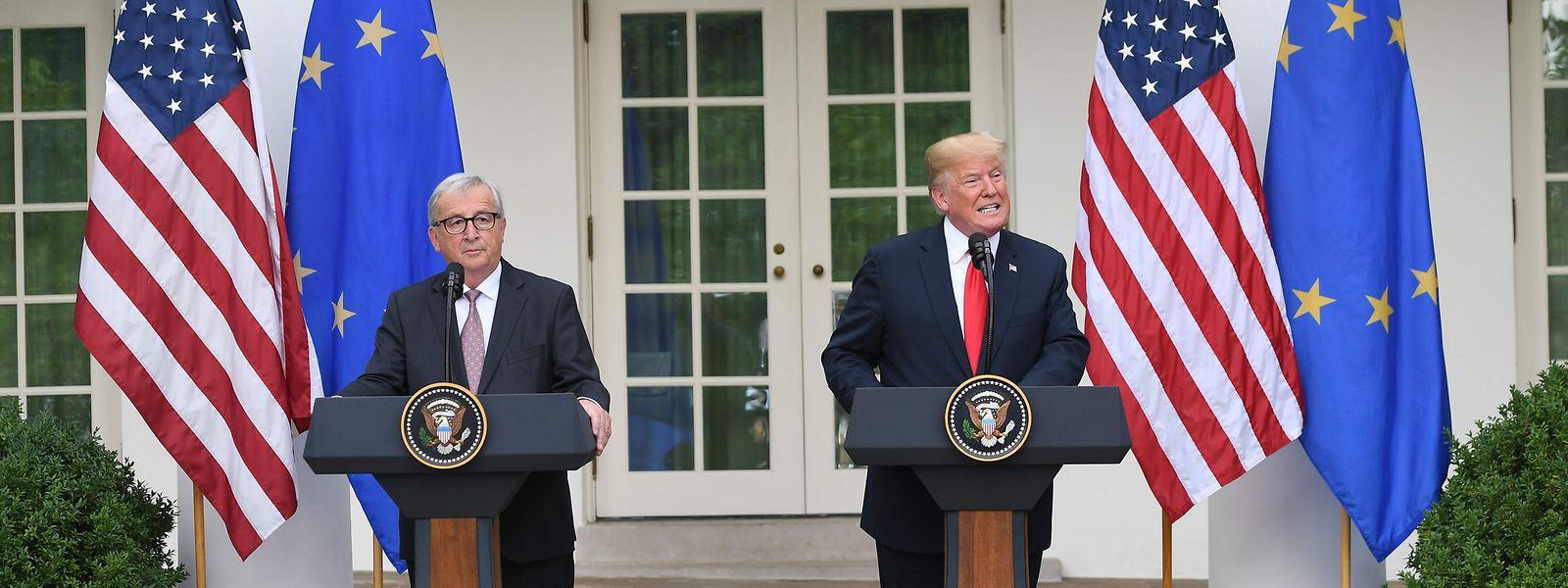 Die beiden Präsidenten bei der gemeinsamen Pressekonferenz nach ihrem Treffen.
