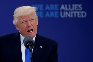 U.S. President Donald Trump delivers remarks at the start of the NATO summit at their new headquarters in Brussels, Belgium, May 25, 2017. REUTERS/Jonathan Ernst