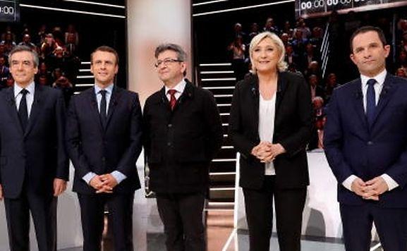 Os principais candidatos às Presidencais francesas: (da esquerda para a direita): Francois Fillon, Emmanuel Macron, Jean-Luc Melenchon,  Marine Le Pen e Benoit Hamon