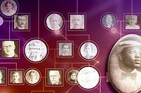 """HANDOUT - HANDOUT - Ort/Datum unbekannt: Portraits hängen an einer Wand und sind mit leuchtenden Linien verbunden. (Zu dpa """"Größter Stammbaum verbindet 13 Millionen Menschen"""" vom 02.03.2018) Foto: MyHeritage/dpa - ACHTUNG: Nur zur redaktionellen Verwendung im Zusammenhang mit der aktuellen Berichterstattung und nur mit vollständiger Nennung des vorstehenden Credits +++ dpa-Bildfunk +++"""