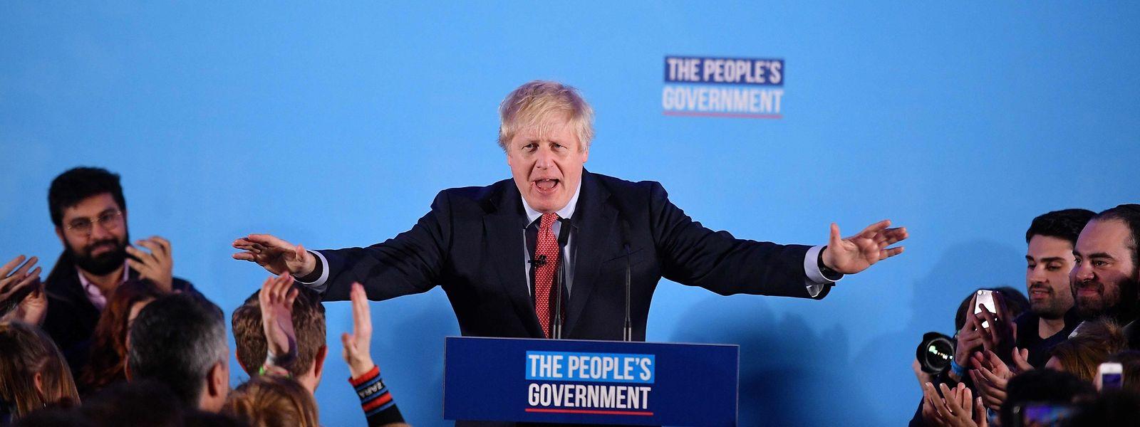 Premierminister Boris Johnson bei einer Rede am Freitagmorgen.