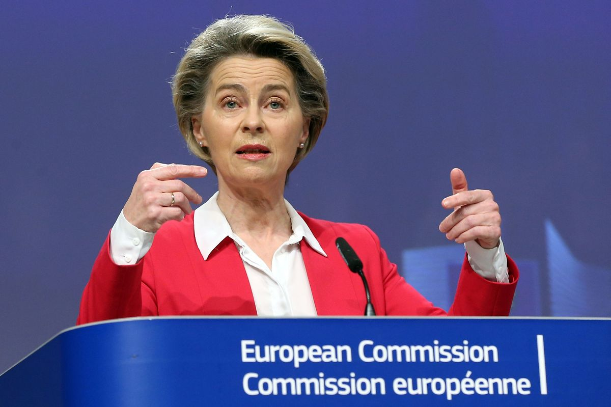 European Commission President Ursula von der Leyen at a press conference on the EU's vaccine strategy on 8 January Photo: Francois Walschaerts/AFP