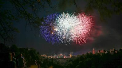 "National Day of ""Nationalfeierdag"" fireworks display over Luxembourg City on June 22, 2017"