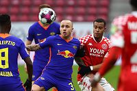 Leipzig's Spanish defender Angelino (L) and Mainz' Swedish forward Robin Quaison vie for the ball during the German first division Bundesliga football match between 1 FSV Mainz 05 and RB Leipzig in Mainz, western Germany, on January 23, 2021. (Photo by KAI PFAFFENBACH / POOL / AFP) / DFL REGULATIONS PROHIBIT ANY USE OF PHOTOGRAPHS AS IMAGE SEQUENCES AND/OR QUASI-VIDEO