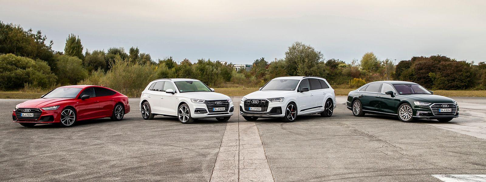 Plug-in-Familie aus Ingolstadt: Audi A7 Sportback 55 TFSI e quattro, Audi Q5 TFSI e, Audi Q7 TFSI e und Audi A8 L 60 TFSI e.