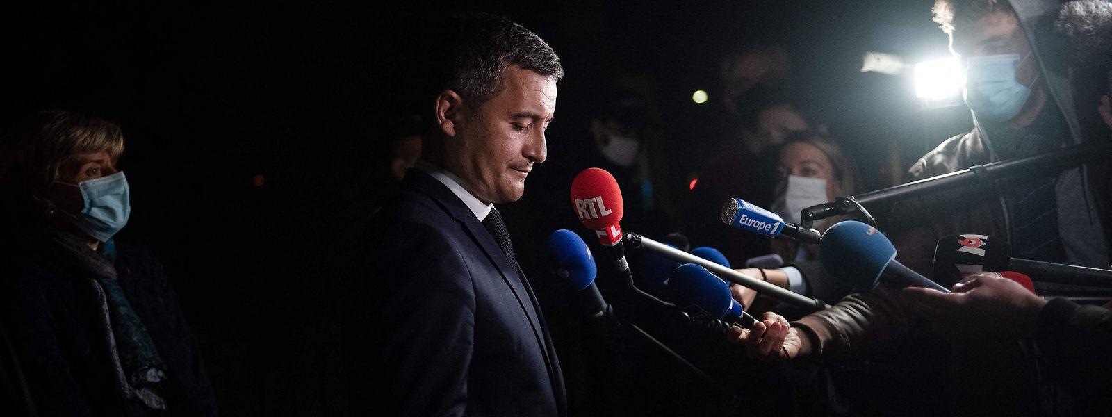 Innenminister Gerald Darmanin zeigte sich vor der Presse am Mittwochabend betroffen.