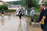 Lokales,Hochwasser,Überschwemmungen,Starkregen,Katastrophe. hier:Steinheim.Foto: Gerry Huberty/Luxemburger Wort