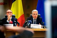 Belgium's opposition party Socialist Party Differently (Sp.a)'s member Johan Vande Lanotte (L) and Belgium Vice-Prime Minister and Minister of Foreign Affairs and Defence Didier Reynders give a press conference after a meeting with the King at the Royal Palace in Brussels, on October 7, 2019. (Photo by HATIM KAGHAT / BELGA / AFP) / Belgium OUT