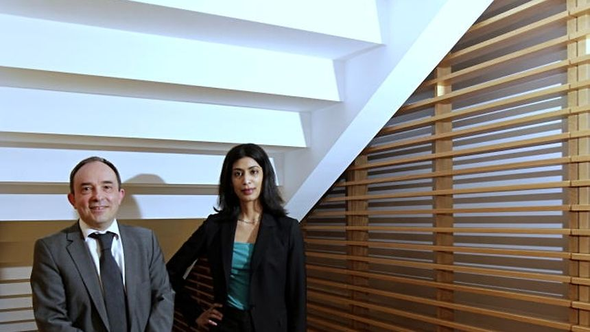 Left to right: Hubert Grignon Dumoulin of the Luxembourg Bourse and Anjalika Bardalai, senior analyst for Eurasia Group