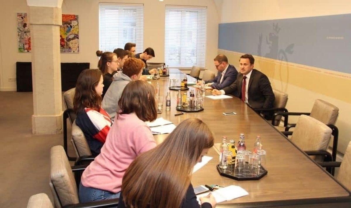 Une délégation composée d'une dizaine de lycéens du Luxembourg a rencontré le Premier ministre quelques jours après la grande manifestation du 15 mars.