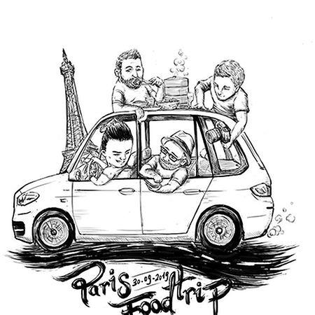 Um desenho feito por Chong sobre a viagem a Paris.
