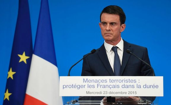 French Prime Minister Manuel Valls looks on during a press conference to present reform proposals, agreed by the government on Wednesday,  that could see the state of emergency called after last month's Paris attacks enshrined in the constitution.