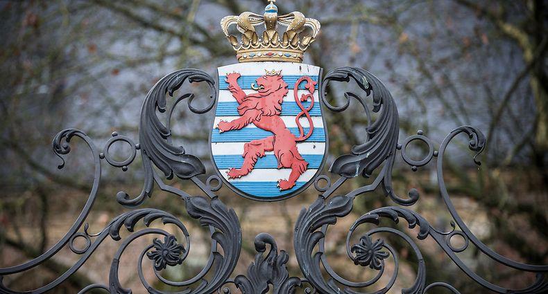 Luxemburger Wappen. Place Clairefontaine, Hôtel de Bourgogne, Ministère d'Etat. Photo Guy Wolff