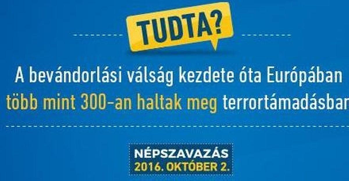 """Um cartaz anti-imigrantes, no qual se pode ler: """"Sabia que desde que começou a crise dos migrantes, mais de 300 pessoas morreram na Europa em ataques terroristas?"""""""