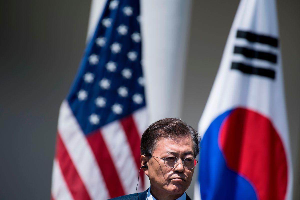 Juni 2017: Der südkoreanische Präsident Moon Jae In bei einer gemeinsamen Pressekonferenz mit Präsident Donald Trump.
