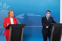 IPO , PK Xavier Bettel u. Paulette Lenert , Corona , Foto:Guy Jallay/Luxemburger Wort