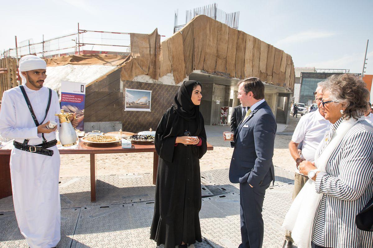 En janvier dernier, le Grand-Duc héritier accompagnait la commissaire de l'exposition lors d'une visite sur le site de l'Exposition universelle.