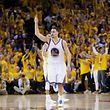 OAKLAND, CA - JUNE 14: Stephen Curry #30 of the Golden State Warriors celebrates in the fourth quarter against the Cleveland Cavaliers during Game Five of the 2015 NBA Finals at ORACLE Arena on June 14, 2015 in Oakland, California. NOTE TO USER: User expressly acknowledges and agrees that, by downloading and or using this photograph, user is consenting to the terms and conditions of Getty Images License Agreement.   Ezra Shaw/Getty Images/AFP == FOR NEWSPAPERS, INTERNET, TELCOS & TELEVISION USE ONLY ==