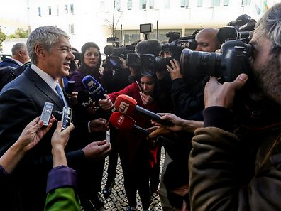 "The former Portugal's Prime Minister Jose Socrates (L) speaks to the journalists on arrival at the Central Department of Investigation and Criminal Action (DCIAP) where he will be interrogated for the third time by the Public Prosecutor's Office under the ""Operation Marques"", in Lisbon, Portugal, 13 March 2017. The questioning of Socrates - indicted for corruption, qualified tax fraud and money laundering - should focus on the latest evidence relating to the business of Portugal Telecom (PT) and the transfer of several million euros Espirito Santo Group (GES) for the entrepreneur Carlos Santos Silva, named as the 'iron head' of the former socialist leader. NUNO FOX/LUSA"